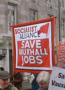 The Socialist Alliance banner on the recent Vauxhall demonstration in Luton.