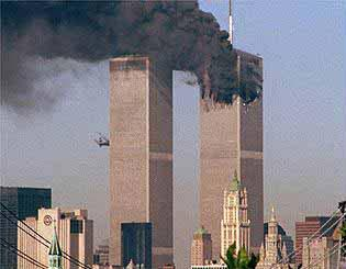 The atrocity that started it all - a passenger plane is flown into the twin towers of the World Trade Center.